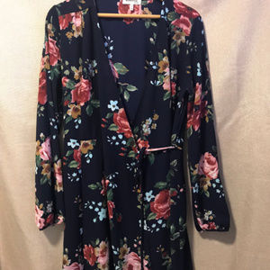 Monteau Floral Wrap Dress with sleeves